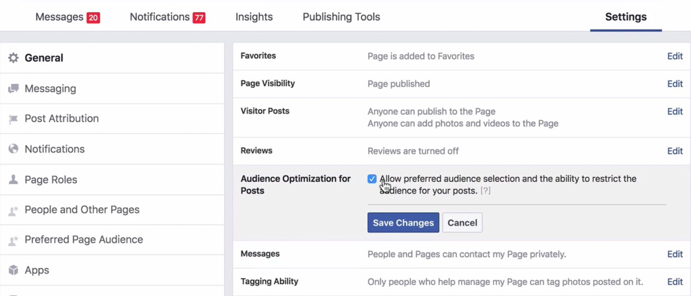 enable post audience targeting option